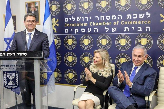 Archivo - El presidente de Honduras, Juan Orlando Hernández, y el primer ministro de Israel, Benjamin Netanyahu.