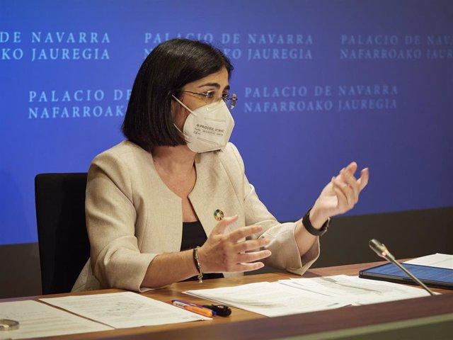 La ministra de Sanidad, Carolina Darias, comparece en rueda de prensa, tras presidir desde Pamplona el pleno telemático del Consejo Interterritorial del Sistema Nacional de Salud, en el Palacio de Navarra, a 2 de junio de 2021, en Pamplona, Navarra (Españ