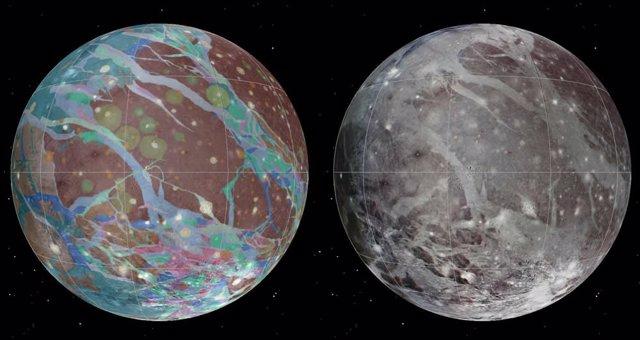 Mosaico y mapas geológicos de la luna de Júpiter, Ganímedes, creados a partir de las mejores imágenes disponibles de las naves espaciales Voyager 1 y 2 y la nave espacial Galileo de la NASA