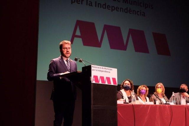 El president de la Generalitat, Pere Aragonès, intervé en l'Assemblea General de l'Associació de Municipis per la Independència (AMI).