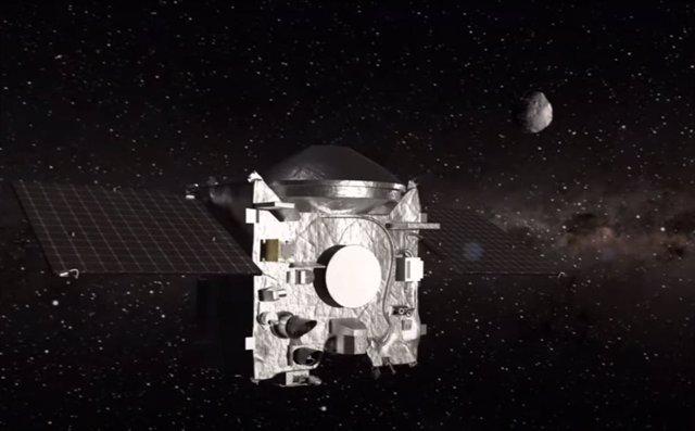 Ilustración de OSIRIS-REx alejándose del asteroide Bennu