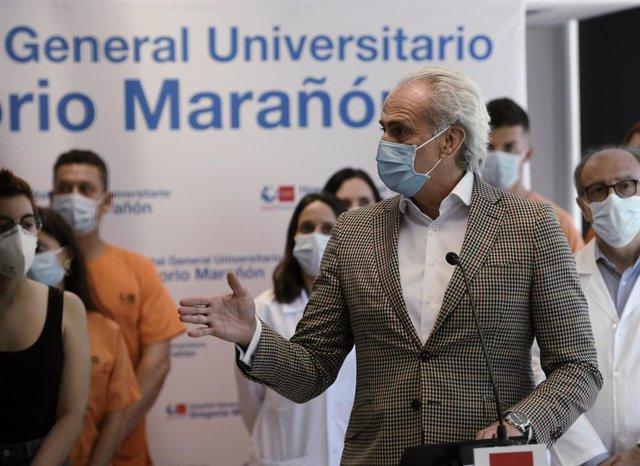 El consejero de Sanidad en funciones de la Comunidad de Madrid, Enrique Ruiz Escudero, interviene en la clausura del dispositivo sanitario instalado en el Ayre Gran Hotel Colón.