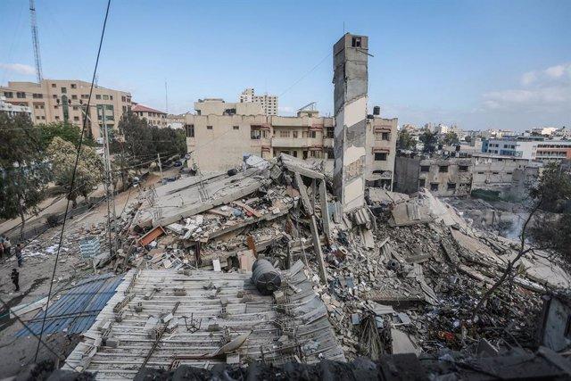Daños materiales causados por los bombardeos de Israel contra Ciudad de Gaza, en la Franja de Gaza