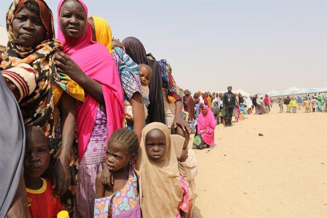 Archivo - Desplazados por la violencia de Boko Haram en Borno, en el noreste de Nigeria
