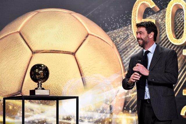 Archivo - 14 December 2020, Italy, Turin: Chairman of Juventus Andrea Agnelli attends the 2020 Golden Boy Football award Under-21 in Europe by Tuttosport. Photo: Marco Alpozzi/LaPresse via ZUMA Press/dpa