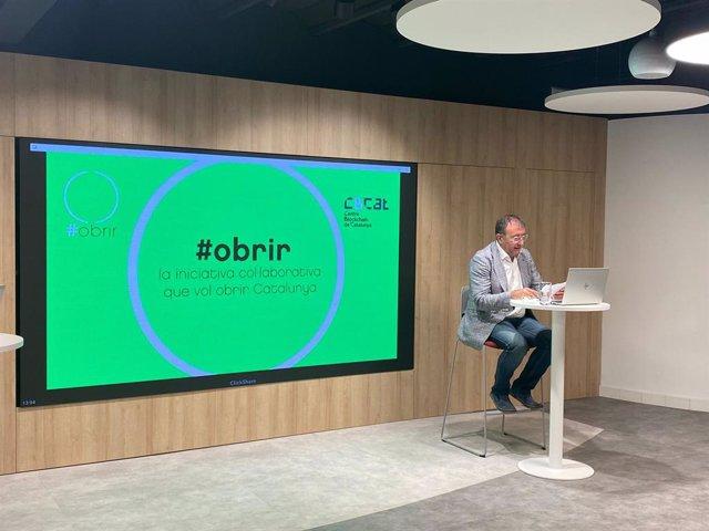 El president del Centre Blockchain de Catalunya, Quirze Salomó, en la presentació d'#obrir.