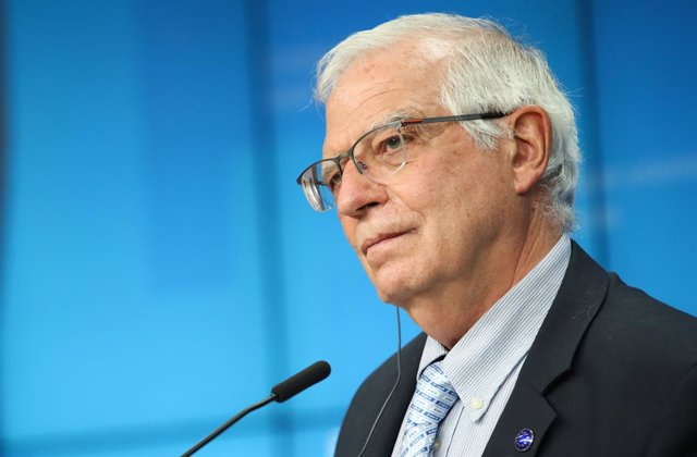 HANDOUT - 06 May 2021, Belgium, Brussels: European Union for Foreign Affairs and Security Policy Josep Borrell speaks during a press conference following the EU Defence ministers meeting at the EU headquarters in Brussels. Photo: Mario Salerno/European Co