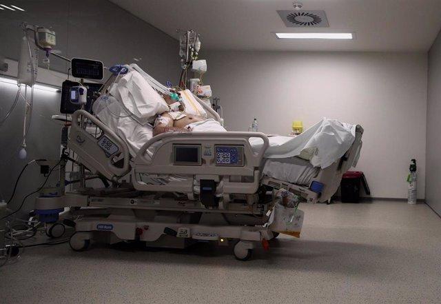 Un enfermo en una cama de la UCI del Hospital de Emergencias Isabel Zendal, Madrid (España),