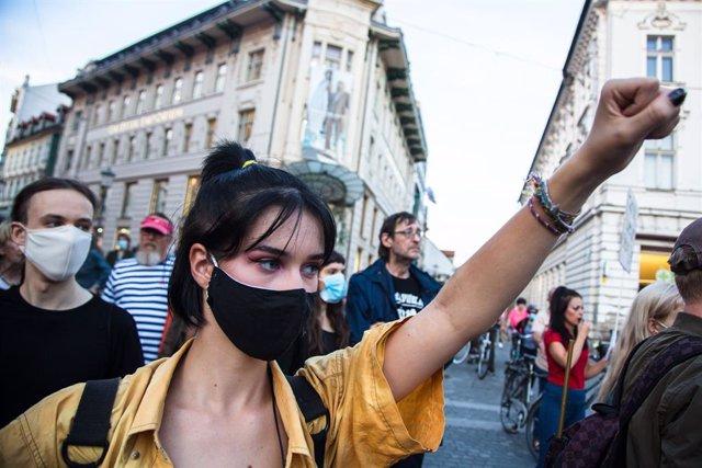 Imagen de archivo de una protesta en Eslovenia