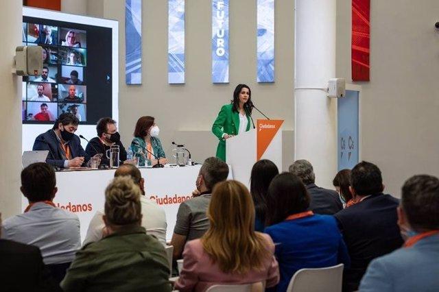 La presidenta de Cs, Inés Arrimadas, en el Consell General del partit a Madrid.