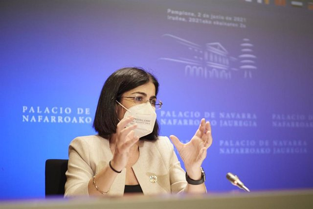 La ministra de Sanidad, Carolina Darias, comparece en rueda de prensa, tras presidir desde Pamplona, en el Palacio de Navarra, a 2 de junio de 2021, en Pamplona, Navarra (España).