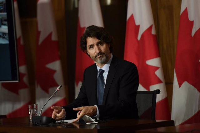 04 June 2021, Canada, Ottawa: Canadian Prime Minister Justin Trudeau holds a press conference to provide an update on the COVID-19 pandemic. Photo: Justin Tang/The Canadian Press via ZUMA/dpa