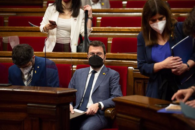 El president de la Generalitat, Pere Aragonès, en la primera sessió de control del nou Executiu, a 2 de juny de 2021, en el Parlament de Catalunya