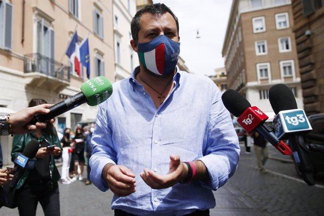 02 June 2021, Italy, Rome: Lega Nord leader Matteo Salvini speaks to media during a press conference. Photo: Cecilia Fabiano/LaPresse via ZUMA Press/dpa