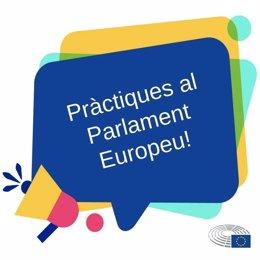 Cartell de convocatòria per a pràctiques en l'Oficina del Parlamento Europeu de Barcelona.