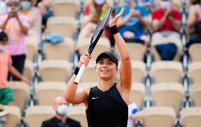 Paula Badosa of Spain after winning the fourth round at the 2021 Roland Garros Grand Slam Tournament against Marketa Vondrousova of the Czech Republic