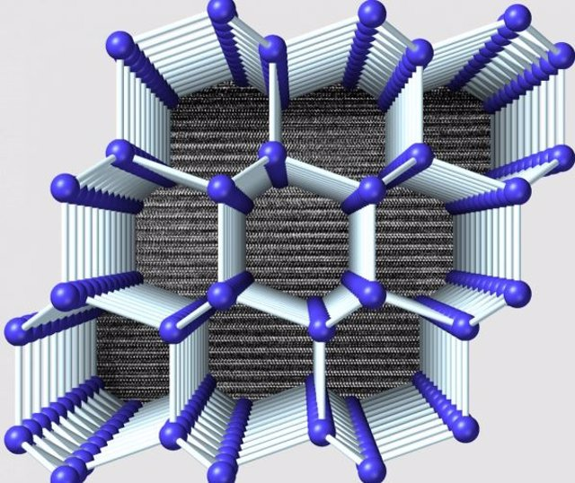 Visualización de la estructura de 4H-Si vista perpendicular al eje hexagonal. Una micrografía electrónica de transmisión que muestr
