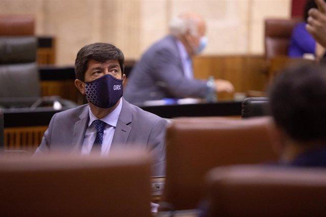 El vicepresidente de la Junta de Andalucía, Juan Marín, en una foto de archivo en el Parlamento andaluz.