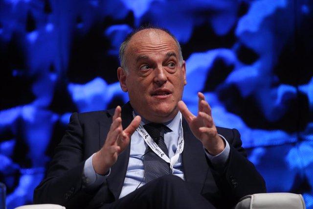 El presidente de LaLiga, Javier Tebas, interviene en la inauguración del IV Congreso Iberoamericano del Consejo Empresarial Alianza por Iberoamérica (CEAPI), a 17 de mayo de 2021, en Madrid, (España). El encuentro, que se celebra el 17 y 18 de mayo, reúne