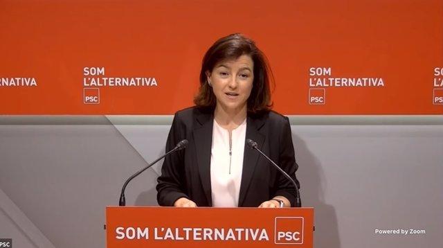 La vicepresidenta del Parlament i viceprimera secretària del PSC, Eva Granados, en una roda de premsa telemàtica el 7 de juny del 2021.