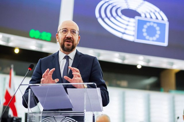 Archivo - FILED - 18 December 2019, France, Strassburg: Charles Michel, President of the European Council, speaks during A plenary session of the European Parliament. Michel and Russian President Vladimir Putin are both hopeful that Sunday's Libya confere