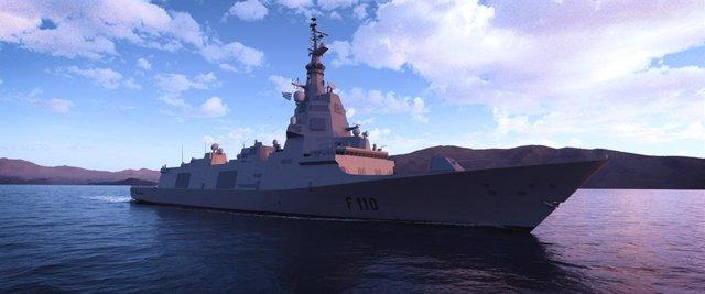 Recreación virtual de la futura fragata F-110 para la Armada española que hará Navantia.