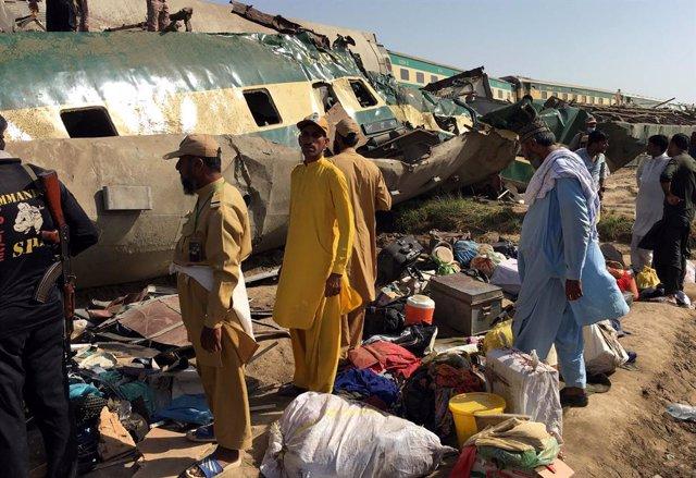 Accidente de tren en la provincia de Sindh, en Pakistán