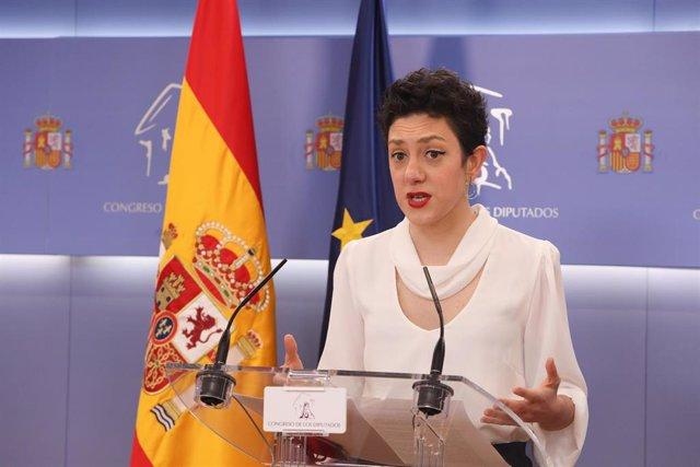 Archivo - La portavoz parlamentaria de Unidas Podemos, Aina Vidal, interviene en una rueda de prensa anterior a una Junta de Portavoces en el Congreso