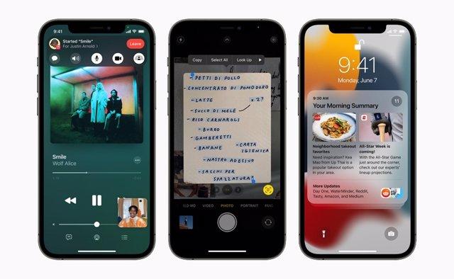Imagen de dispositivos iPhone con nuevas características de FaceTime, texto en vivo y notificaciones rediseñadas en iOS 15