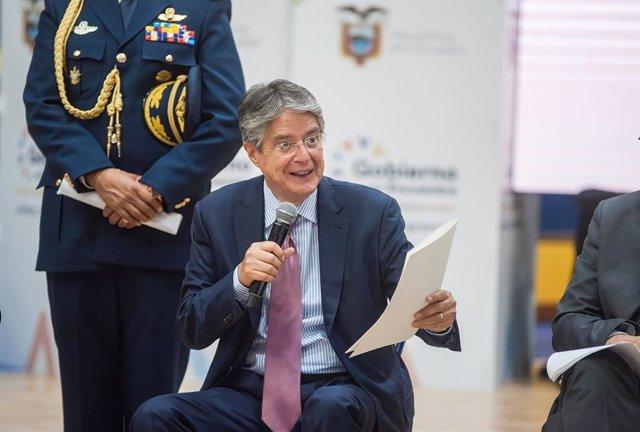 31 May 2021, Ecuador, Quito: Ecuadorian President Guillermo Lasso speaks during the inauguration of the COVID-19 vaccination plan. Photo: Juan Diego Montenegro/SOPA Images via ZUMA Wire/dpa