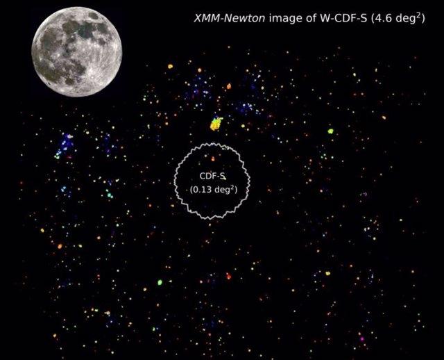 La imagen de XMM-Newton del campo W-CDF-S de 4.6 grados cuadrados revela la vista amplia y sensible del cielo de rayos X proporcionada por XMM-SERVS