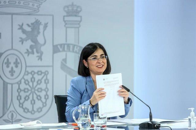 La ministra de Sanidad, Carolina Darias, comparece en rueda de prensa posterior a la reunión del Consejo Interterritorial del Sistema Nacional de Salud, a 26 de mayo de 2021, en Madrid (España). El Ministerio de Sanidad y las comunidades autónomas deciden