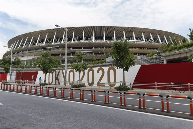 07 June 2021, Japan, Tokyo: A general view of the National Stadium, the venue for the opening ceremony and competitions for the Tokyo 2020 Olympic and Paralympic Games, which will be held from 23 July to 8 August, 2021. Photo: Rodrigo Reyes Marin/ZUMA Wir