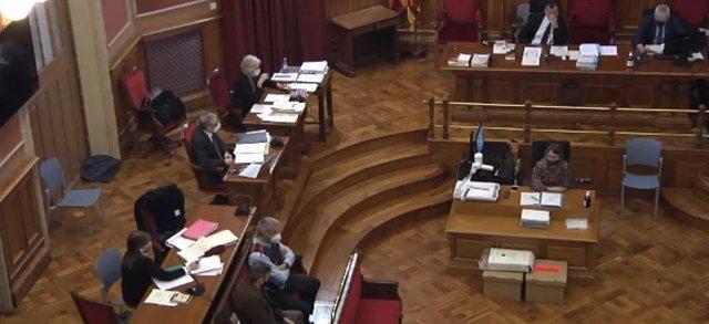 Archivo - Arxiu - L'acusat de presumptament violar i matar una nena de 13 anys a Vilanova i la Geltrú (Barcelona) durant la primera sessió del judici el 12 d'abril del 2021.