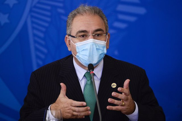 Archivo - 14 April 2021, Brazil, Brasília: Brazilian Minister of Health Marcelo Queiroga, speaks during a press conference after a meeting of the National Committee for the Fight against the Corona Pandemic. Photo: Marcelo Camargo/Agencia Brazil/dpa - ACH