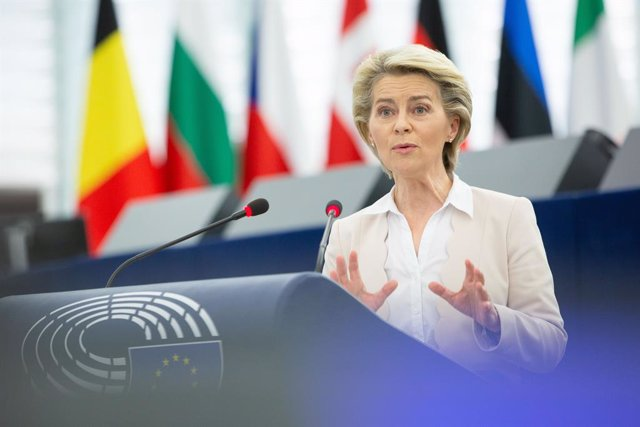 HANDOUT - 08 June 2021, France, Strasbourg: President of the European Commission Ursula von der Leyen speaks during a plenary session of the European Parliament on the ongoing assessment by the Commission and the Council of the national recovery and resil