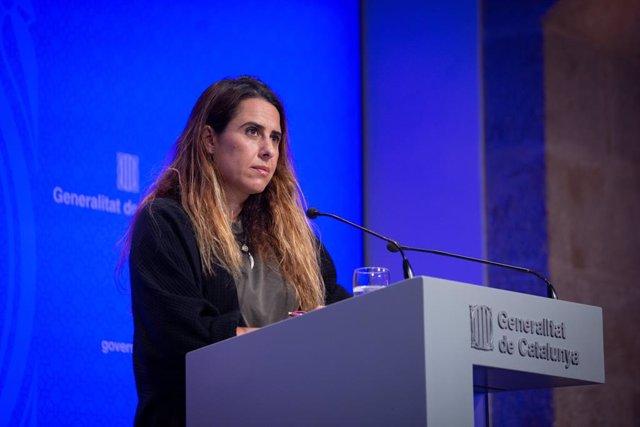 La portaveu del Govern, Patrícia Plaja, en la seva primera roda de premsa posterior al Consell Executiu.