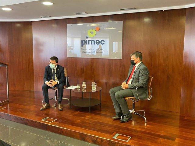 El president de la Generalitat, Pere Aragonès, i el president de Pimec, Antoni Cañete