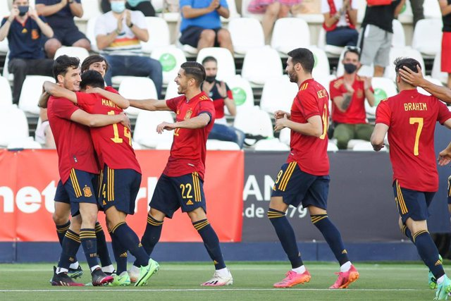 Hugo Guillamon of Spain U21 celebrates a goal during the international friendly match played between Spain U21 and Lithuania at Municipal de Butarque stadium on Jun 07, 2021 in Leganes, Madrid, Spain.