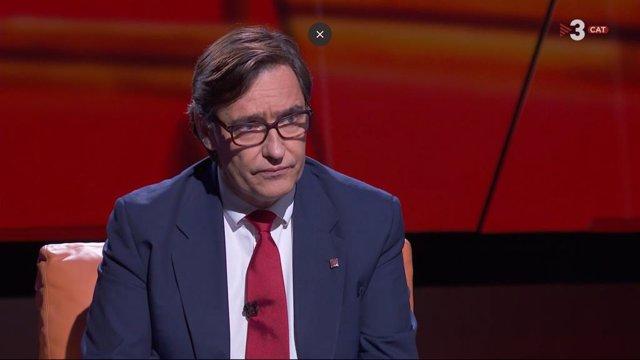 El líder del PSC en el Parlament, Salvador Illa, en una entrevista de Tv3 i Catalunya Ràdio