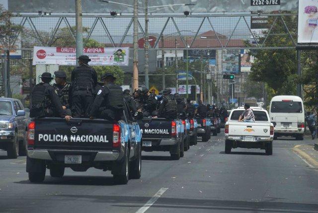 Archivo - Despliegue policial en Nicaragua