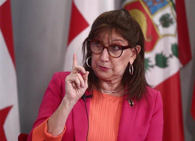 Archivo - La secretaria general iberoamericana, Rebeca Grynspan, interviene durante un encuentro digital de Europa Press, en la sede de la Secretaría General Iberoamericana, en Madrid (España), a 25 de marzo de 2021.