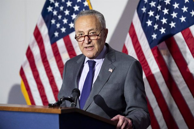 11 May 2021, US, Washington: USSenate Majority Leader Chuck Schumer speaks at a press conference of the Democratic Senate Caucus leadership, after attending a Senate committee hearing on the Democratic election bill. Photo: Michael Brochstein/ZUMA Wire/d