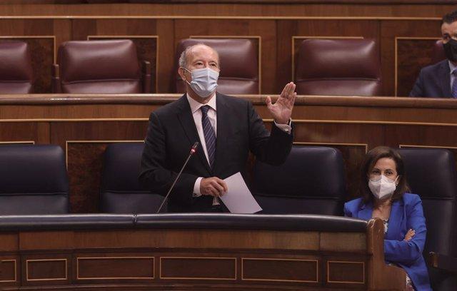El ministre de Justícia, Juan Carlos Camp, intervé en una sessió de control al Govern, a 9 de juny de 2021, al Congrés dels Diputats, Madrid, (Espanya). La sessió, marcada per l'absència del president del Govern a causa del seu viatge oficial