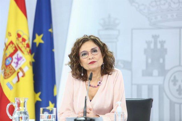 La ministra portavoz y ministra de Hacienda, María Jesús Montero, comparece en una rueda de prensa posterior al Consejo de Ministros