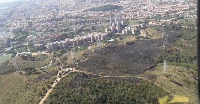 Imatge de la zona cremada per l'incendi a la carretera alta de Roquetes, al parc de Collserola (Barcelona)