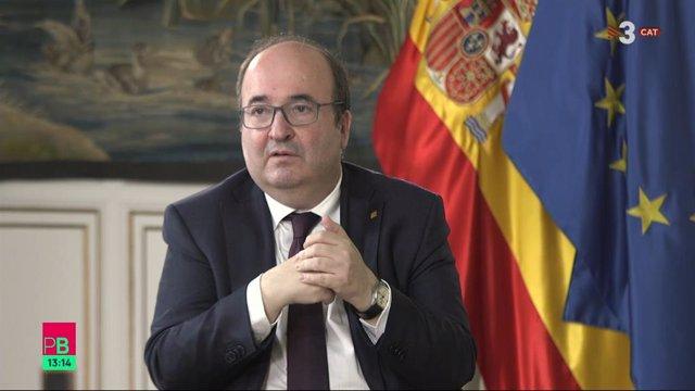 El ministre i primer secretari del PSC, Miquel Iceta, en una entrevista de TV3.