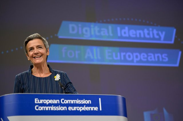 HANDOUT - 03 June 2021, Belgium, Brussels: European Commission vice-president in charge Europe fit for the digital age Margrethe Vestager gives a press on establishing an European Digital Identity Framework at the European Commission in Brussels. Photo: C