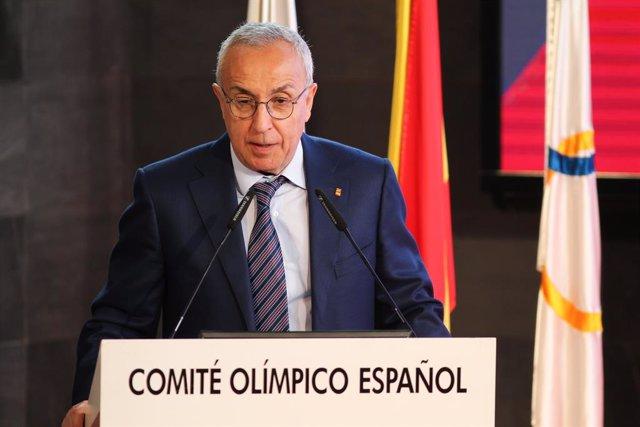 El presidente del COE, Alejandro Blanco, en una presentación en la sede de dicho organismo en Madrid.