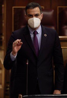 El presidente del Gobierno, Pedro Sánchez, interviene en una sesión de control al Gobierno, a 26 de mayo de 2021, en el Congreso de los Diputados, Madrid, (España). La crisis diplomática abierta con Marruecos, los planes del Gobierno para la presente legi